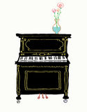 Piano card hand drawn illustration Royalty Free Stock Image