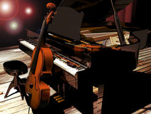 Piano, Cello and violin. On a wooden stage, a piano, with a violin above and a cello leaned to it vector illustration