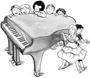 Piano with children Stock Photo