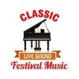 Piano. Classic music festival emblem Stock Photography
