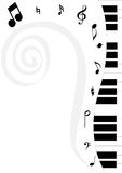 Piano and clef-2 Royalty Free Stock Image