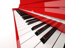 Piano close-up. Red classical piano keys close-up  on white Stock Photography