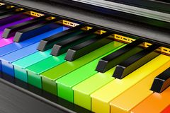 Piano colored keyboard, music concept. 3D rendering. Piano colored keyboard, music concept. 3D royalty free illustration