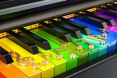 Piano colored keyboard with music notes, music concept. 3D rende. Piano colored keyboard with music notes, music concept Stock Image