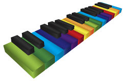 Piano Colorful Keyboard 3D Illustration. Piano Keyboard with Rainbow Colors Keys in 3D Isolated on White Background Illustration Royalty Free Stock Photo