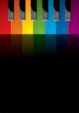 Piano coloured keys. Coloured keys of a piano in a black background stock illustration