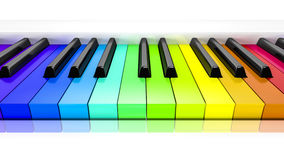 Piano con il fondo di chiavi colorate dell'arcobaleno Fotografia Stock Libera da Diritti