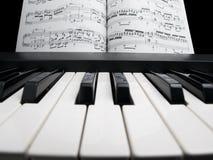 Piano con las hojas de la nota Foto de archivo