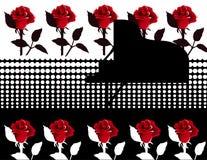 Piano con las rosas stock de ilustración