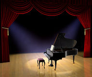 Piano Concert. Piano on theatre stage with red curtain and spotlights on the stage floor Royalty Free Stock Photography