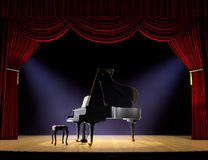 Piano Concert. Piano on theatre stage with red curtain and spotlights on the stage floor Stock Image