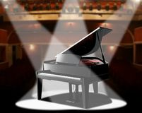 Piano in concert hall vector illustration