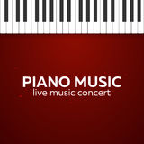 Piano concert poster design. Live music concert. Piano keys. Vector illustration. Stock Photo