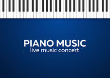Piano concert poster design. Live music concert. Piano keys. Vector illustration. Stock Photography