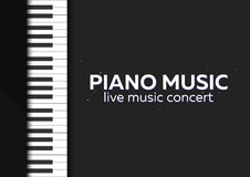 Piano concert poster design. Live music concert. Piano keys. Vector illustration. Royalty Free Stock Photo