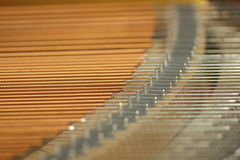 Piano Cords. In macro from grand piano Royalty Free Stock Images