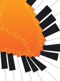 Piano Curve Orange. Illustration of curve piano with music notes orange background Stock Image
