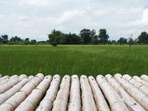 Piano d'appoggio di legno con il paesaggio della natura fotografie stock libere da diritti