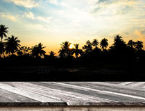 Piano d'appoggio di legno diagonale vuoto al tramonto della siluetta con il coconu Fotografie Stock Libere da Diritti