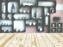 Piano d'appoggio di legno su stanza interna Fotografia Stock Libera da Diritti