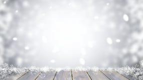 Piano d'appoggio di legno sul Natale della sfuocatura Immagini Stock Libere da Diritti
