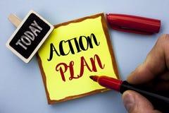 Piano d'azione del testo di scrittura di parola Concetto di affari per l'obiettivo operativo di scopo di attività di procedura di immagini stock libere da diritti