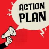Piano d'azione di concetto di affari della mano del megafono Immagine Stock