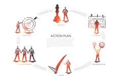 Piano d'azione - strategia, collabororation, controllo, implementazione, concetto stabilito di obiettivo illustrazione di stock