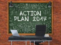 Piano d'azione 2017 sulla lavagna con le icone di scarabocchio 3d Fotografia Stock