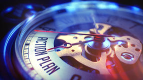 Piano d'azione - testo sull'orologio da tasca 3d rendono Immagini Stock