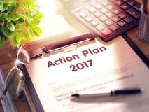 Piano d'azione 2017 - testo sulla lavagna per appunti 3d Immagine Stock