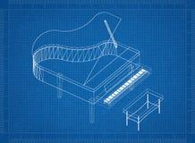 Piano 3D blauwdruk Vector Illustratie