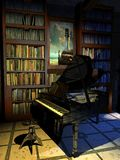 Piano in de bibliotheek stock illustratie