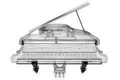 Piano de cauda antigo com trajeto Fotografia de Stock