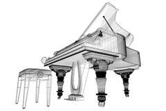 Piano de cauda antigo com trajeto Imagem de Stock Royalty Free