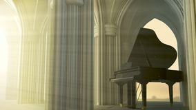 Piano de cola en la iglesia gótica libre illustration
