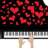 Piano de la música del amor del corazón Imagenes de archivo