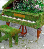 Piano decorated with flowers and moss grass Royalty Free Stock Images