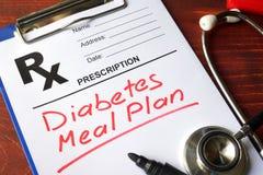 Piano del pasto del diabete immagini stock