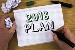 Piano del testo 2018 della scrittura Concetto che significa gli scopi provocatori di idee affinchè motivazione del nuovo anno ini Fotografia Stock