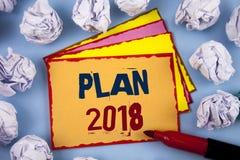 Piano 2018 del testo di scrittura di parola Concetto di affari per gli scopi provocatori di idee affinchè motivazione del nuovo a Immagini Stock
