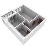 piano dell'appartamento 3d Fotografia Stock Libera da Diritti