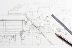 piano dell'architetto di zona residenziale 3D Immagini Stock Libere da Diritti