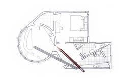 Piano dell'architetto per un interior design del condominio immagine stock