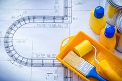 Piano della costruzione con il vassoio del rullo del pennello Fotografia Stock