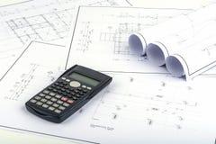 Piano della struttura, costruente i calcoli fotografie stock libere da diritti