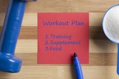 Piano di allenamento scritto sulla nota Immagine Stock Libera da Diritti