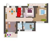 Piano di architettura con mobilia nella vista superiore Fotografie Stock Libere da Diritti