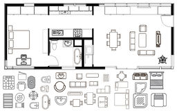 Piano di architettura con mobilia nella vista superiore Fotografia Stock