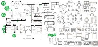Piano di architettura con mobilia nella vista superiore Fotografia Stock Libera da Diritti